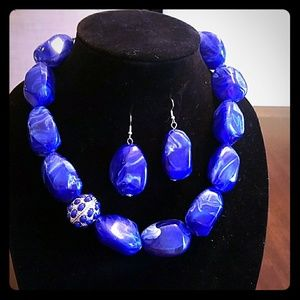Blue Stone Statement Necklace and earrings
